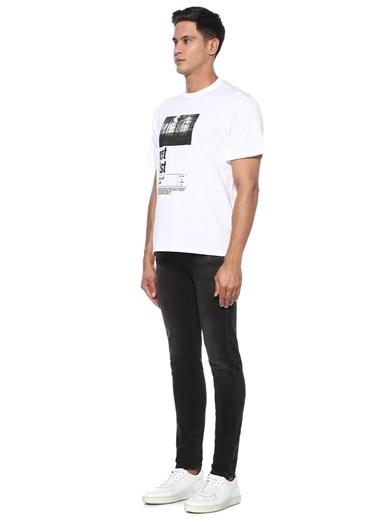 Neil Barrett Neil Barrett  Kontrast Baskılı Basic T-shirt 101546496 Beyaz